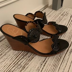 JACK ROGERS Luccia Black Leather Wedge Sandals